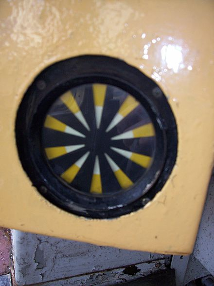 "A typical AWS ""sunflower"" indicator. The indicator shows either a black disk or a yellow and black ""exploding"" disk. D5401 AWS 260108 d.adkins.jpg"
