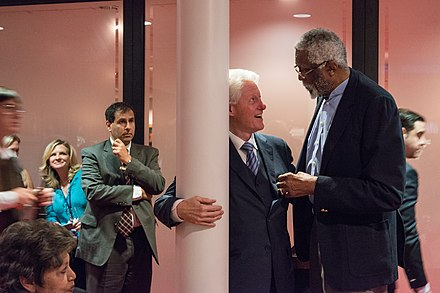 Former President Bill Clinton and Russell at the Civil Rights Summit at the LBJ Presidential Library in 2014 DIG13619-512.jpg