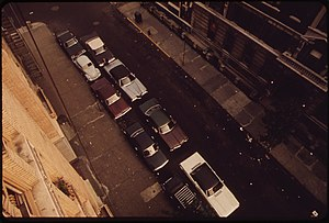 Double parking - Cars double-parked on New York City street in the 1970s