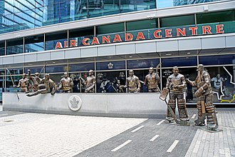 Scotiabank Arena - In September 2014, a group of life-sized statues were installed at the southwest corner of the arena.