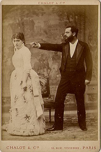 Jacques Damala - Jane Hading (left) and Jacques Damala in the play Le Maître de Forges, circa 1883.