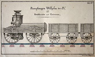 "John Ericsson - German drawing (1833) of the steam locomotive ''Wilhelm IV with scale in feet, built by ""Braithwaite und Ericsson""."
