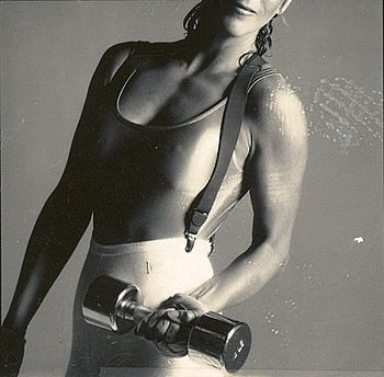 English: DeBarra Mayo in workout gear 1987. Ph...