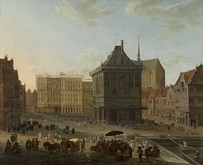 The Dam, Amsterdam, with the new town hall under construction