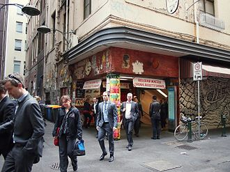 Degraves Street, Melbourne - Degraves Street exit from Campbell Arcade, an underpass to Flinders Street Station