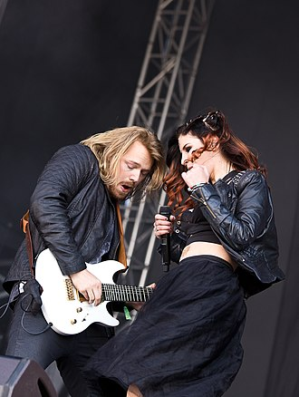 Delain - Charlotte Wessels and Timo Somers, during a 2015 festival in Germany.