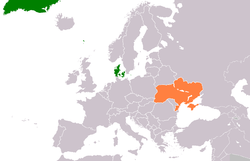 Map indicating locations of Denmark and Ukraine
