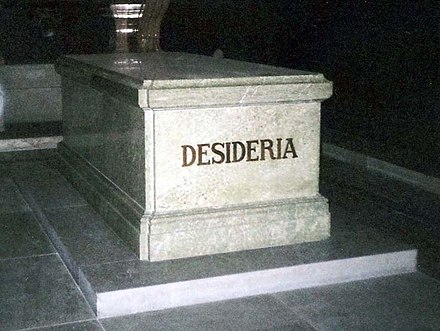 The sarcophagus of Queen Desideria at Riddarholm Church in Sweden. The name was given to Desiree Clary not at birth but when she was elected Crown Princess of Sweden in 1810 Desideria of Sweden & Norway grave 2007.jpg