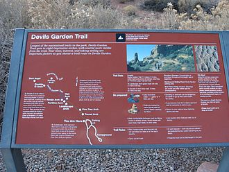 Devil's Garden (Arches National Park) - Trail sign with map