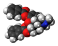 Dibenzoylmorphine molecule spacefill.png