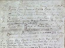 O imagine monocromă a unei bucăți de hârtie cu mai multe intrări scrise de mână, cu detaliile organizate în coloane.