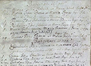 Dick Turpin - 21 September 1705 entry of Turpin's name in the parish Baptism register for Hempstead, Essex