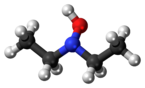Ball-and-stick model of the diethylhydroxylamine molecule