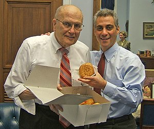 John Dingell - Dingell and Rahm Emanuel enjoy Pączki, 2006