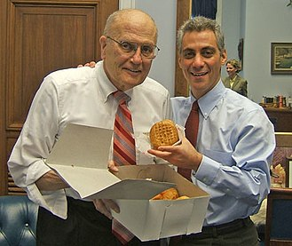 John Dingell - Dingell and Rahm Emanuel with pączki in 2006