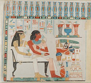 TT45 - Image: Djehuty and his Mother Receiving Offerings, Tomb of Djehuty MET 15.5.8 EGDP019646 Cropped