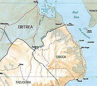 Djiboutian–Eritrean border conflict - Image: Djibouti Eritrea border map