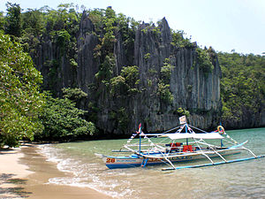 English: Rock formations at the docking area g...