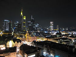 From top to bottom, from left to right: The skyline of Frankfurt am Main, Römerberg, St. Bartholomeus' Cathedral, Alte Oper, Römer.