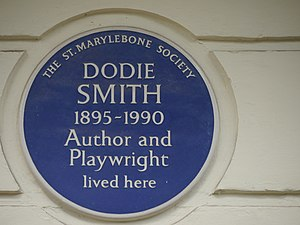 Dodie Smith - Blue plaque, 18 Dorset Square