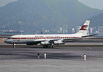 Garuda Indonesia - A Garuda Indonesia Douglas DC-8 at Kai Tak Airport on 1967.