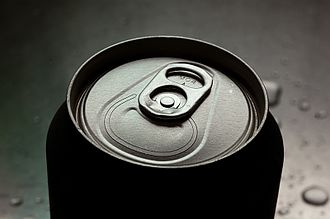 Drink can - The stay-tab opening mechanism characteristic of most drinking cans since the mid-1980s. The 'wide-mouth' version, seen here, was introduced in the late 1990s.