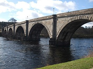 A9 road (Scotland) - Thomas Telford's bridge crossing the River Tay at Dunkeld
