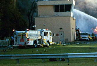 Arlington County Fire Department - Arlington Engine 105 is seen here operating at the Pentagon shortly after the crash of Flight 77.