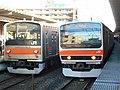 E231-0 Series & 205-5000 Series Musashino Line in Musashi-Urawa Station.jpg