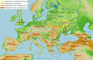 Kiev culture - Wielbark culture, migration of Goths (orange arrow), the 2nd-3rd centuries, Chernyakhov culture (orange line), the 3rd century and (red line), the 4th century, Kiev culture (yellow line), the 3rd-4th centuries