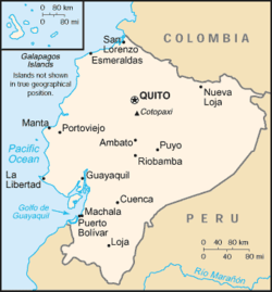 Map of Ecuador showing location of Quito