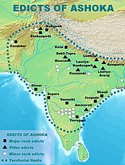Distribution of the Edicts of Ashoka and Ashokan territorial limits.