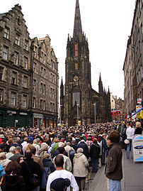 The Royal Mile in the Old Town during the Edin...