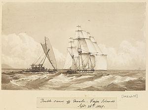 Edward Gennys Fanshawe, Double canoe off Moalu, Feejee Islands, Septr 26th 1849 (Fiji).jpg