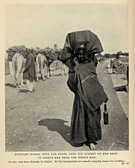 Egyptian Woman with her shawl over the Burden on her head to shield her from the fierce sun. (1911) - TIMEA.jpg