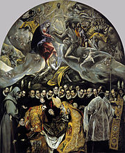The Burial of Count Orgaz (1586–1588, oil on canvas, 480×360cm, Santo Tomé, Toledo), now El Greco's best known work, illustrates a popular local legend. An exceptionally large painting, it is very clearly divided into two zones: the heavenly above and the terrestrial below. However, there is little feeling of duality, and the upper and lower zones are brought together compositionally.