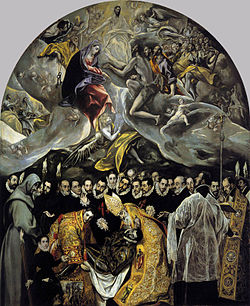El entierro del conde de Orgaz (1586–1588, óleo sobre lienzo, 480 × 360 cm, Santo Tomé, Toledo), la obra más conocida de El Greco. Ilustra una leyenda local según la cual el conde fue enterrado por san Esteban y san Agustín. En la parte inferior, realista, recreó un entierro con toda la pompa del siglo XVI; en la superior, idealizada, representó la Gloria y la llegada del alma del conde.