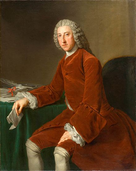 William Pitt, 1st Earl of Chatham, the bitter political rival of Fox, despite both belonging to the Whig faction Elderpitt.jpg