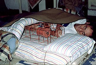 Bed warmer - Electrical bed warmer (with a shielded electric bulb) in Dharamkot (Himachal Pradesh), India, 1979