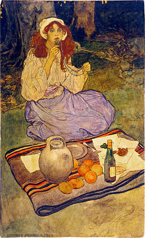 Elizabeth Shippen Green - Image: Elizabeth Shippen Green, Miguela, kneeling still, put it to her lip, 1906