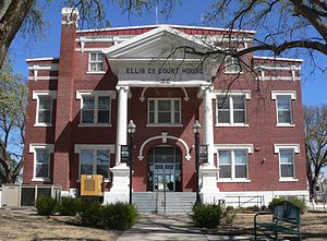 Ellis County, Oklahoma courthouse from W 2.JPG