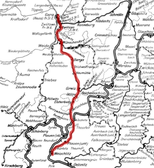 Gera Süd–Weischlitz railway - Section of the 1902 route map of Saxony