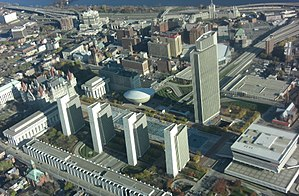 Empire State - The Empire State Plaza (constructed 1959–1976) houses much of New York State government.