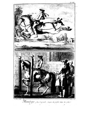 Antoine de Pluvinel - The piaffe between the pillars (below)