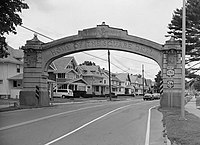 Endicott-Johnson Workers Arch, approximately 250' east of intersection of Bridge, Endicott (Broome County, New York).jpg