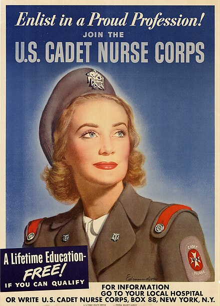 Winter uniform of the Cadet Nurse Corps Enlist in a Proud Profession-Join the U.S. Cadet Nurse Corps (version one).jpg