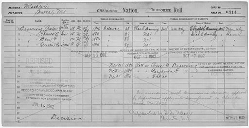 Enrollment for Cherokee Census Card D314 - NARA - 252062