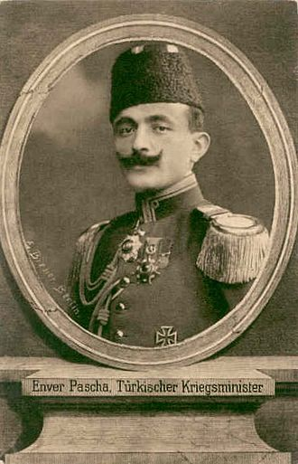 Enver Pasha - Enver Pasha, depicted on a First World War period German postcard.