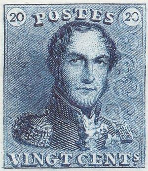 Postage stamps and postal history of Belgium - Image: Epaulette 20c
