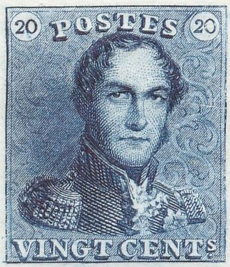 Epaulettes (stamp) - Blue twenty centimes version